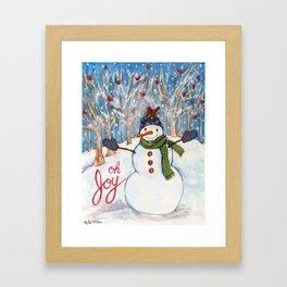 Oh Joy Red Bird Snowman Framed Art Print