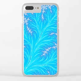 Abstract Aqua Blue Christmas Tree Branch with White Snowflakes Clear iPhone Case
