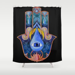 The Hamsa of Sacred Waters Shower Curtain