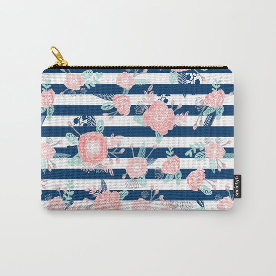 Florals bouquet navy stripe modern classic pattern print nautical preppy chic kids children college  Carry-All Pouch