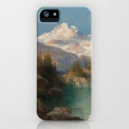 Snow-capped Rocky Mountains landscape painting by Thomas Moran iPhone Case