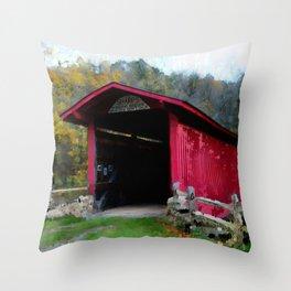 KISSING COVERED BRIDGE Throw Pillow