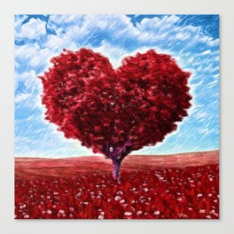 Red Heart Topiary Tree | Horticulture Painting - Scrapbook Canvas Print