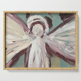Impressionistic Angel #2 Maroon & Ivory Serving Tray