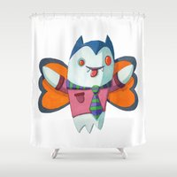 dracula Shower Curtains featuring Dracula Butterfly by Paul Rively