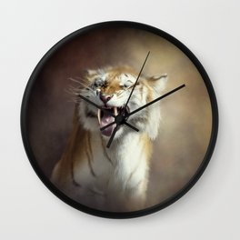 Sabertooth tiger portrait.Digital art Wall Clock