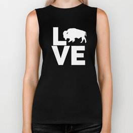 I Love Buffalo White Bull Bison Silhouette Biker Tank