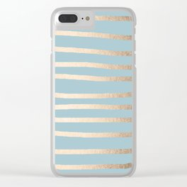 Abstract Drawn Stripes Gold Tropical Ocean Sea Blue Clear iPhone Case