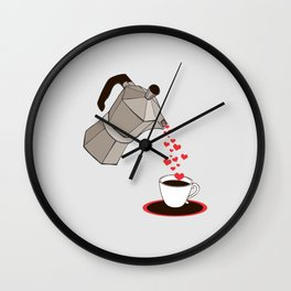 Kitchen Living Room Interior Wall Home Decor with Cuban Coffee Maker pouring Hearts Wall Clock
