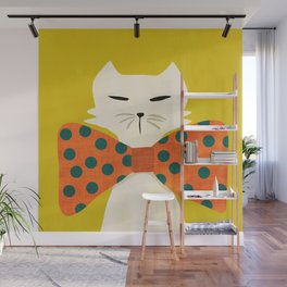 Cat with incredebly oversized humongous bowtie Wall Mural