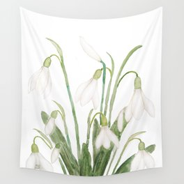 white snowdrop flower watercolor Wall Tapestry