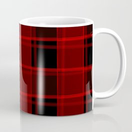 Strict strokes of light and red cells with bright stripes. Coffee Mug