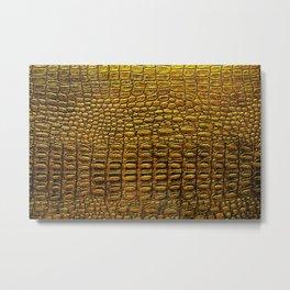 Luxury golden alligator skin texture,  vintage animal print mosaic, shiny gold illustration background, nature texture Metal Print