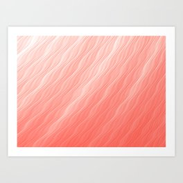 Living Coral Wavy Ombre Pattern Art Print