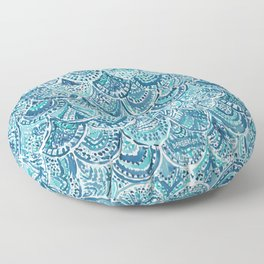 SPLASH Blue Watercolor Mermaid Scales Floor Pillow