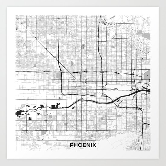Phoenix Map Gray Art Print