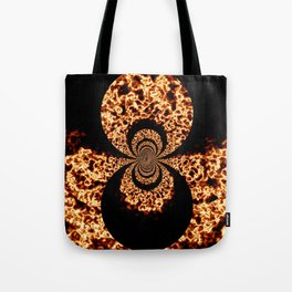 Lava Fire Marbling Black and Orange Art Tote Bag