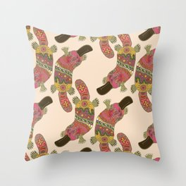 duck-billed platypus linen Throw Pillow
