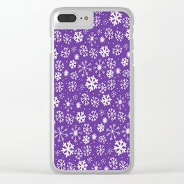 Snowflake Snowstorm With Purple Background Clear iPhone Case