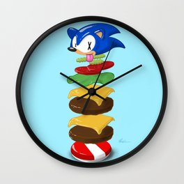 Double Sonic Burger with Cheese No Sauces - v1 Wall Clock