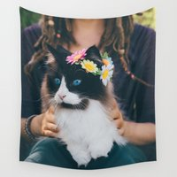 hippie Wall Tapestries featuring Hippie Cat by Isaloha Photography