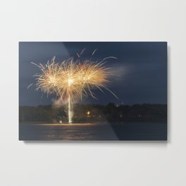 Fireworks Over Lake 7 Metal Print