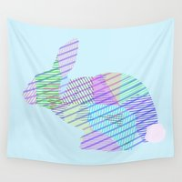 rabbit Wall Tapestries featuring Rabbit by nessieness