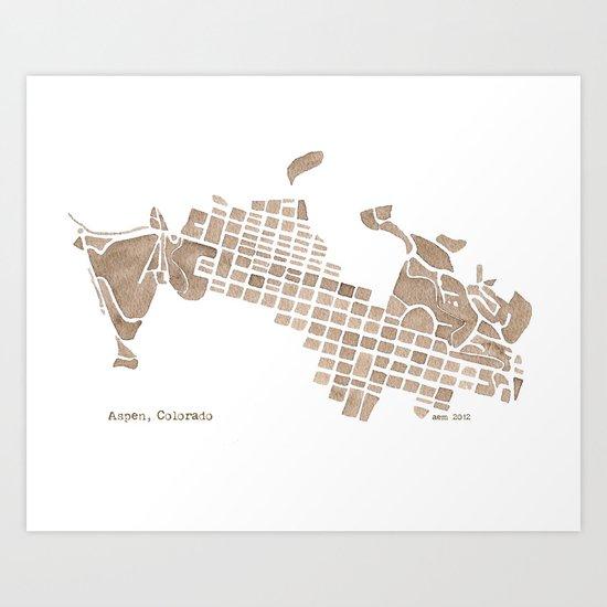 Aspen Colorado watercolormap Art Print