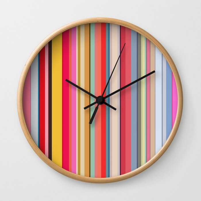 Colorful lines print Wall Clock