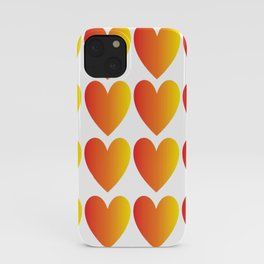 Love Hearts Red Through Yellow Ombre iPhone Case