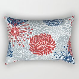 Floral Abstract Print, Red, Navy, Blue, Gray Rectangular Pillow