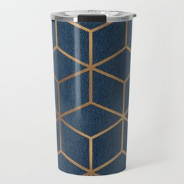 Dark Blue and Gold - Geometric Textured Cube Design Travel Mug