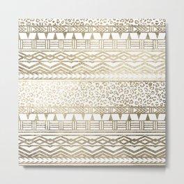 Modern faux gold foil aztec leopard pattern Metal Print