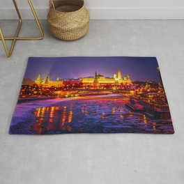 Moscow Kremlin And The Moscow River In The Winter Night Rug