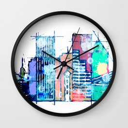 colorful Portland skyline Wall Clock