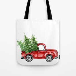 Christmas Trees in Red Truck Tote Bag