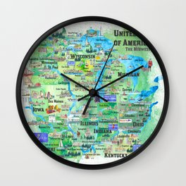 USA Midwest States Travel Map MN WI MI IA KY IL IN OH MO With_Highlights Wall Clock