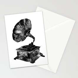 GRAMOPHONE, black and white Stationery Cards