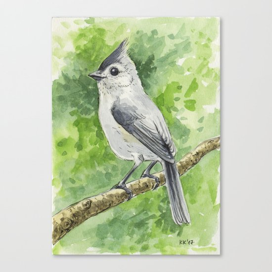 Titmouse bird watercolor Canvas Print