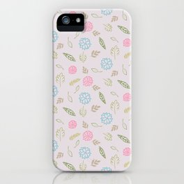 Summer Botanicals // Hand Drawn Leaves and Flowers, Water Color // Blue, Green and Pink iPhone Case