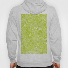 Modern white hand drawn floral lace illustration on lime green punch Hoody