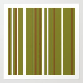 Olive Pin Stripes Art Print