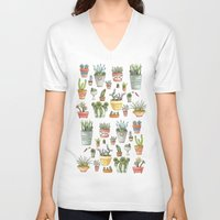 succulents V-neck T-shirts featuring Potted Succulents by Brooke Weeber