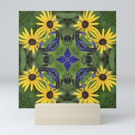 Blue Salvia Compass Points in a Ring of Rudbeckia Mini Art Print