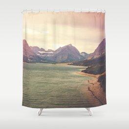 Retro Mountain Lake Shower Curtain