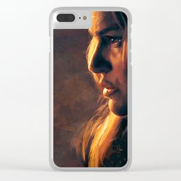 Profile Of Beautiful Woman In Dim Firelight Clear iPhone Case