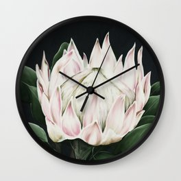 Protea Flower in Shades of Pink and green Wall Clock