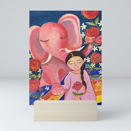 Elephant Somin and a girl in June night | Yuko Nagamori Mini Art Print