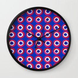 Donut Evil Eye Amulet Talisman - red on blue doughnut Wall Clock