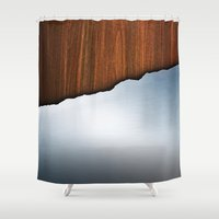 Wooden Brushed Metal Shower Curtain